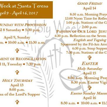 Holy Week at Santa Teresa April 9 – April 16, 2017