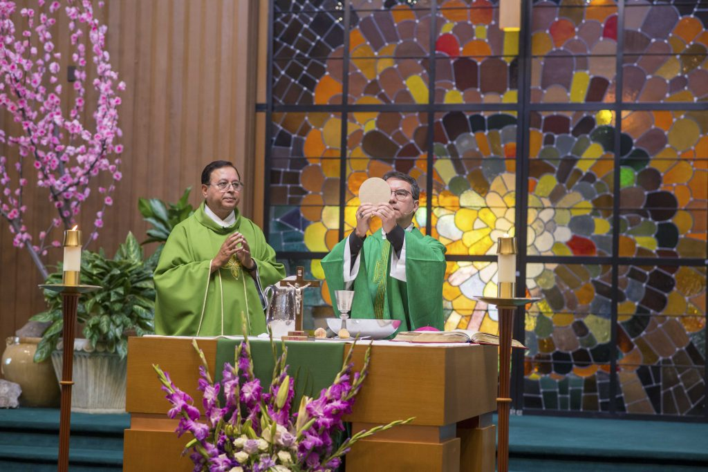 Bishop Oscar Cantú of the Diocese of San Jose and Father George Aranha at Welcome Mass at Santa Teresa Catholic Church July 14, 2019